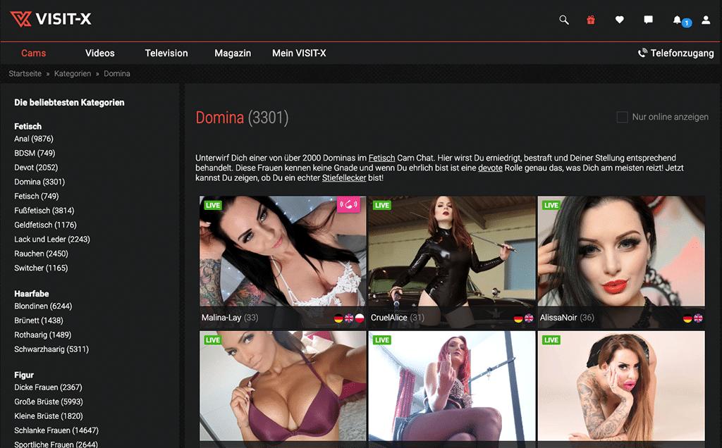 Auch bei Visit-X erlebst du heiße Bizarrladys vor der Webcam